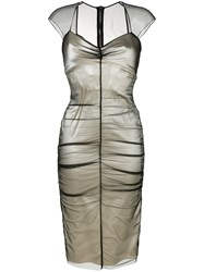 Tom Ford Layered Fitted Dress Polyamide Spandex Elastane Acetate Nude Neutrals