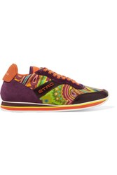 Etro On The Run Leather And Suede Trimmed Printed Neoprene Sneakers Orange