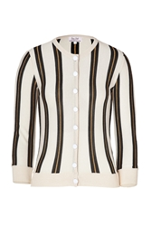 Lwren Scott Cream Black Striped Cashmere Cardigan