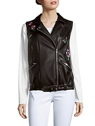 Saks Fifth Avenue Red Floral Faux Leather Jacket Black