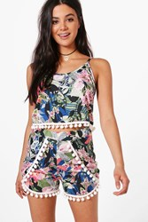 Boohoo Tropical Pom Pom Crop And Short Co Ord Set Multi