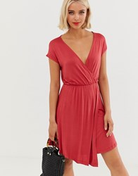 Brave Soul Wrap Front Dress In Cranberry Red
