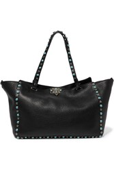 Valentino The Rockstud Large Textured Leather Trapeze Bag Black