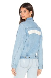 Understated Leather X Revolve Best Bitches Denim Jacket Sky Blue And White Leather
