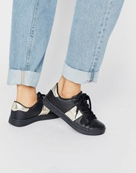 Truffle Collection Strut Trainer Black Pu Gold