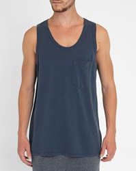 American Vintage Blue Raw Edge Tank Top