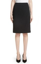Armani Collezioni Women's Pinstripe Pencil Skirt Black Grey Multi