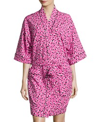 Bedhead Demi Ball Dot Short Kimono Robe Fuchsia Black Fuchsia Black