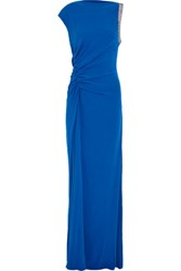 Halston Heritage Asymmetric Embellished Stretch Crepe Gown Bright Blue