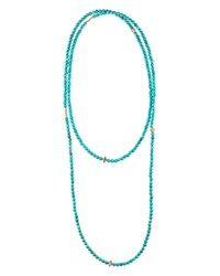 Lagos 18K Gold And Turquoise Single Strand Station Necklace 34 Blue Gold