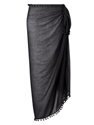 Phase Eight Pom Pom Sarong Black
