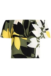 Bailey 44 Off The Shoulder Ruffled Printed Crepe Top Leaf Green