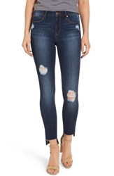 Leith Women's Ripped Step Hem Skinny Jeans Destroy Medium Wash