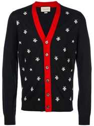 Gucci Bee And Star Cardigan Men Wool Xl Blue