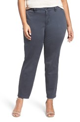Sejour Plus Size Women's Stretch Cotton Ankle Pants Grey Ebony