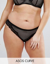 Asos Curve Caggie Fishnet And Lace French Knicker Black