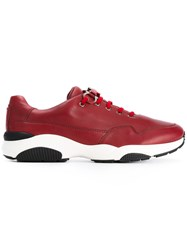Salvatore Ferragamo Lace Up Sneakers Men Leather Nappa Leather Polyester Rubber 9 Red