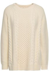 Chinti And Parker Cable Knit Wool Cashmere Blend Sweater Ecru