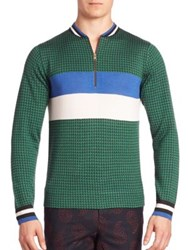 Paul Smith Merino Wool And Silk Sweater Orange Green Blue