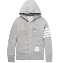 Thom Browne Striped Loopback Cotton Jersey Zip Up Hoodie Gray