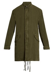 Vince Stand Collar Linen And Cotton Blend Parka Green