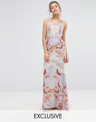 Hope And Ivy Printed Maxi Dress With Low Back Eyelash Lace Trim Multi