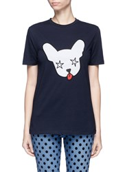 Etre Cecile 'Starry Dog' Embroidered Jersey T Shirt Blue
