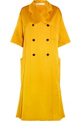 Victoria Beckham Pleated Silk Blend Satin Coat Yellow