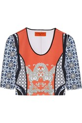 Clover Canyon Cropped Printed Neoprene Top