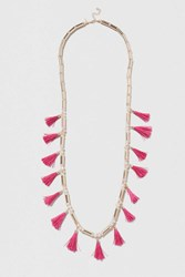 Topshop Bead And Tassel Long Necklace Purple