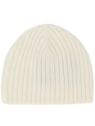Pringle Of Scotland Ribbed Cashmere Beanie Hat White