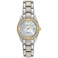 Citizen Ew1824 57D Women's Eco Drive Regent Two Tone Diamond Bracelet Strap Watch Silver Gold
