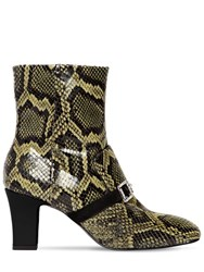 Les Petits Joueurs 70Mm Snake Printed Leather Boots Green