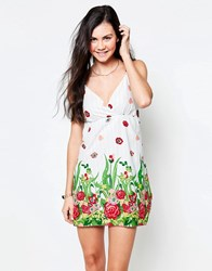 Jasmine Sun Dress In Floral Print White And Green
