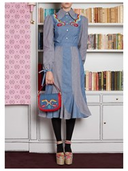 Olympia Le Tan Northern Lights Chambray Dress Blue