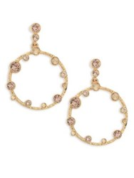 Oscar De La Renta Circular Crystal Hoop Earrings 1.75 Gold