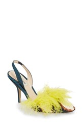 Attico Mara Feathered Genuine Snakeskin Slingback Pump Black Yellow
