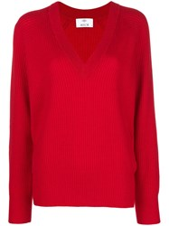 Allude V Neck Jumper Red