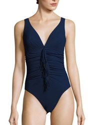 Karla Colletto Swim Reina Silent Ruched One Piece Swimsuit Navy Black