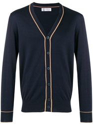Brunello Cucinelli Button V Neck Cardigan Blue