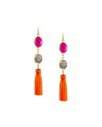 Panacea Linear Tasseled Druzy Dangle Earrings Multi
