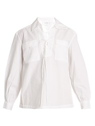 Frame Lace Up Cotton Shirt White