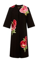 Naeem Khan Floral Applique Coat Black