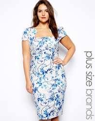 Lipstick Boutique Plus Blue Floral Print Pencil Dress Multi