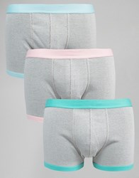 Asos Trunks In Rib Fabric With Pastel Waistband 3 Pack Grey