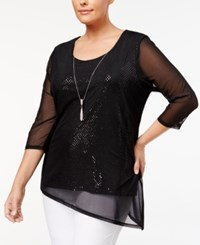Jm Collection Plus Size Mesh Sequined Top Created For Macy's Deep Black