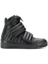 Les Hommes Padded High Top Sneakers Black