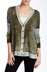 Cullen Distressed Print Easy Cardigan Green