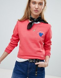 Maison Scotch Eat Your Heart Out Logo Sweatshirt Red
