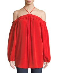 Bishop Young Ana Solid Halter Cold Shoulder Blouse Red